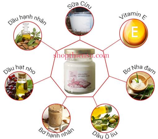 Thành phần kem dưỡng trắng da toàn thân bơ hạnh nhân Pizu