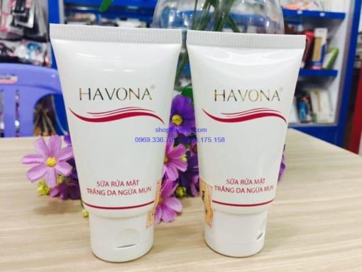 Sữa rửa mặt ngừa mụn trắng da Havona