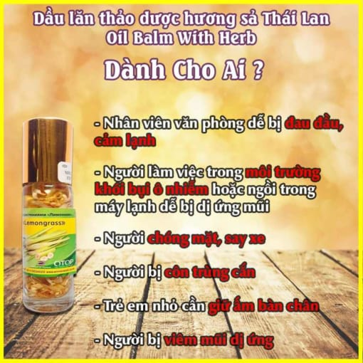 Ai cần dùng Dầu lăn thảo dược hương sả Thái Lan