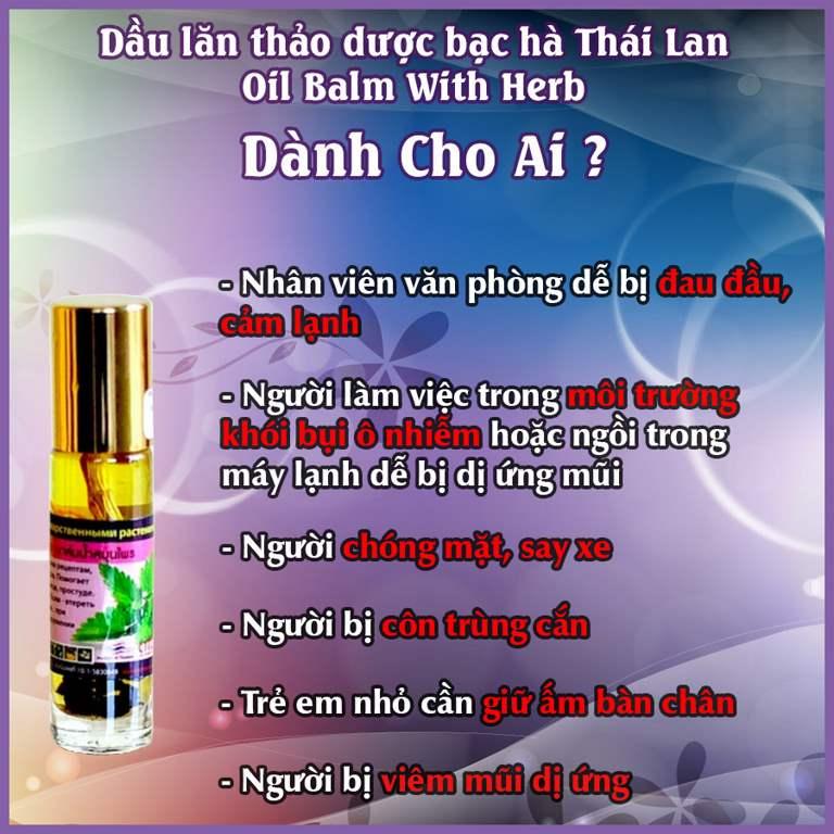 Đối tượng dầu lăn thảo dược bạc Hà Thái Lan