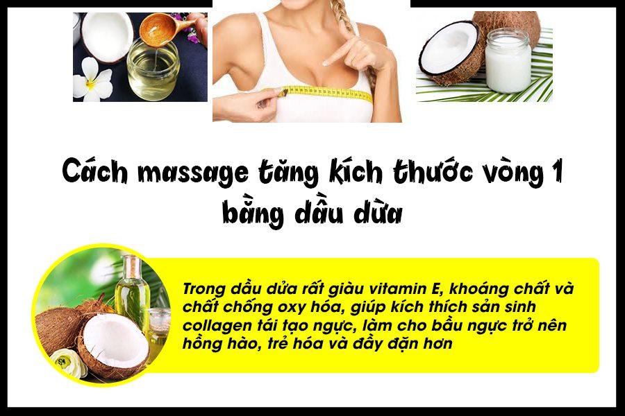 Cách massage tăng kích thước vòng 1 bằng dầu dừa