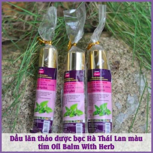 Dầu lăn thảo dược bạc Hà Thái Lan màu tím Oil Balm With Herb