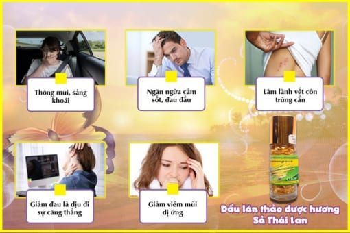 Tác dụng chính Dầu lăn thảo dược hương sả Thái Lan