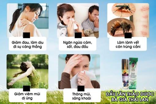 Công dụng của dầu gió bi lăn thảo dược bà già Thái Lan Herbal Liquid Balm Yatim Brand
