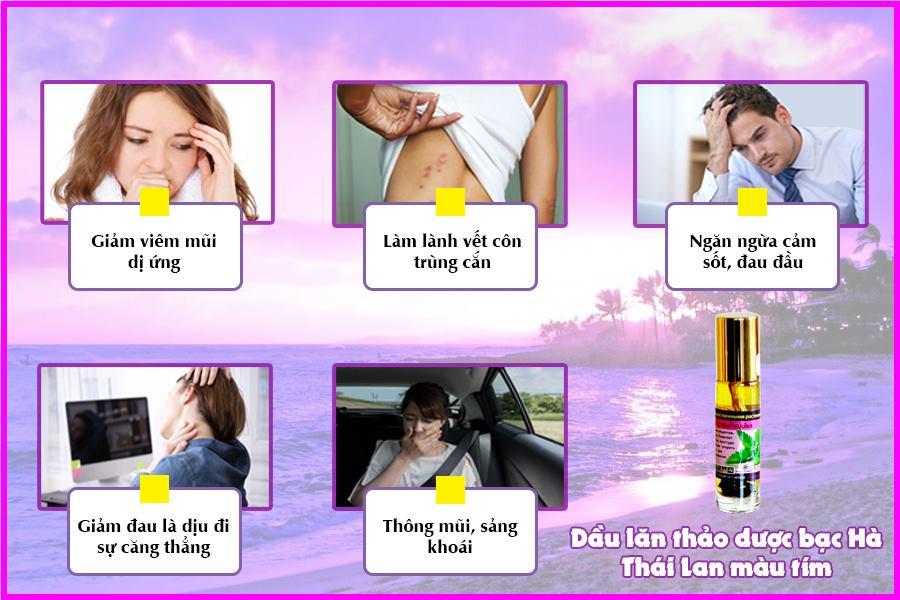 Tác dụng dầu lăn thảo dược bạc Hà Thái Lan