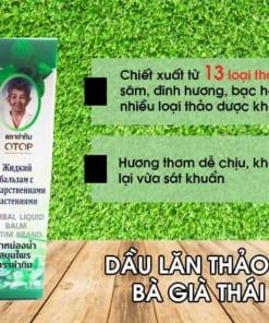 Thành phần dầu gió bi lăn thảo dược bà già Thái Lan Herbal Liquid Balm Yatim Brand