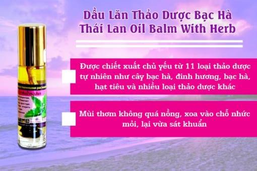 Thành Phần Dầu Lăn Thảo Dược Bạc Hà Thái Lan Oil Balm With Herb