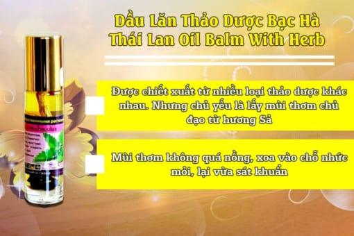 Thành phần dầu lăn thảo dược hương sả Thái Lan