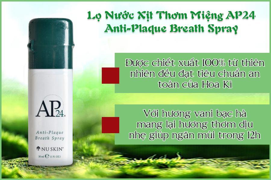 Thành phần lọ Nước Xịt Thơm Miệng AP24 Anti Plaque Breath Spray