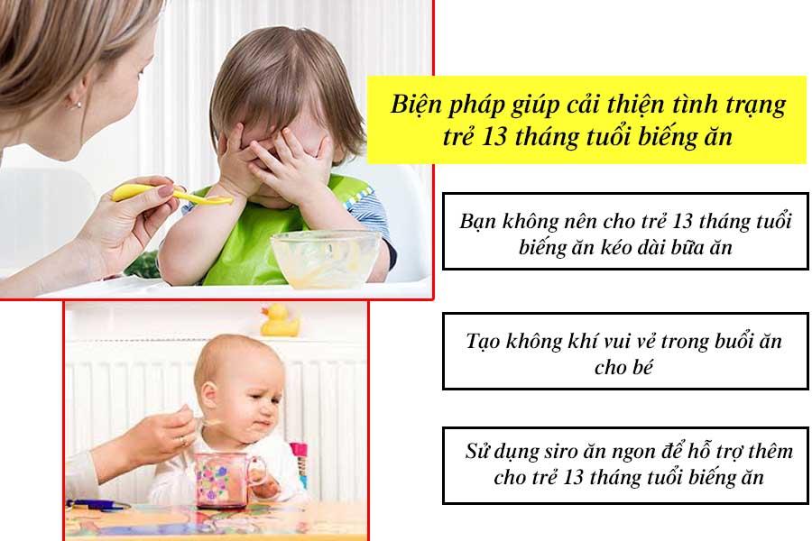 Biện pháp giúp trẻ 13 tháng tuổi biếng ăn