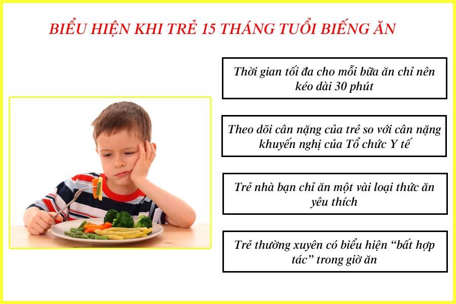 Biểu hiện trẻ 15 tháng tuổi biếng ăn