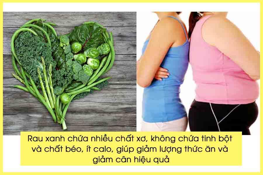Ăn rau giảm cân khống chế lượng mỡ thừa