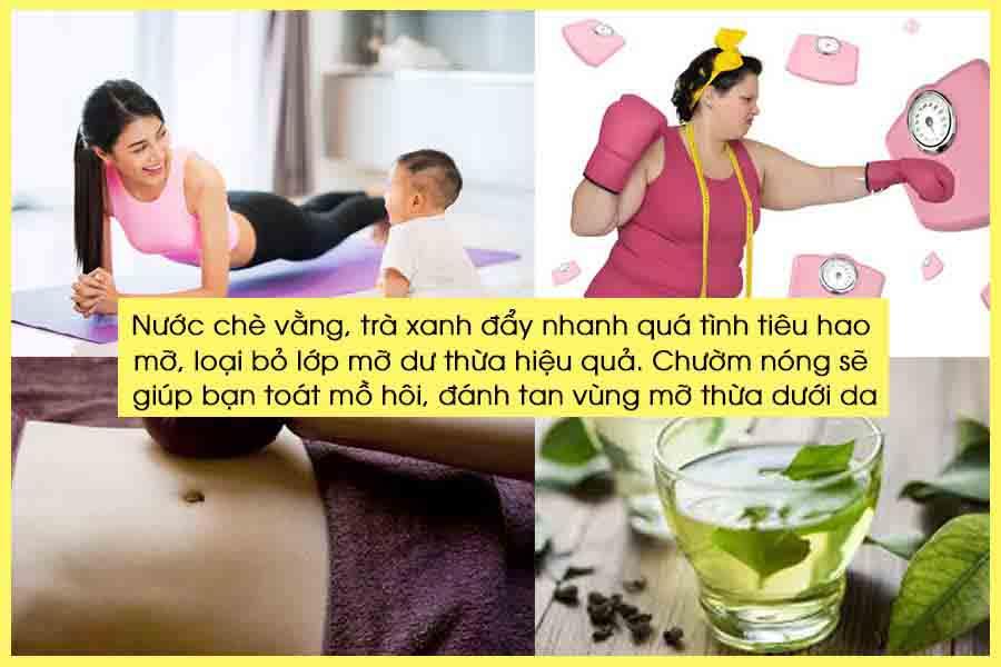 Giảm cân sau sinh bằng nước chè vằng, trà xanh và chườm nóng