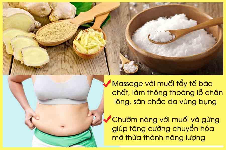 Giảm vòng 2 với massage bằng muối và chườm nóng với muối và gừng