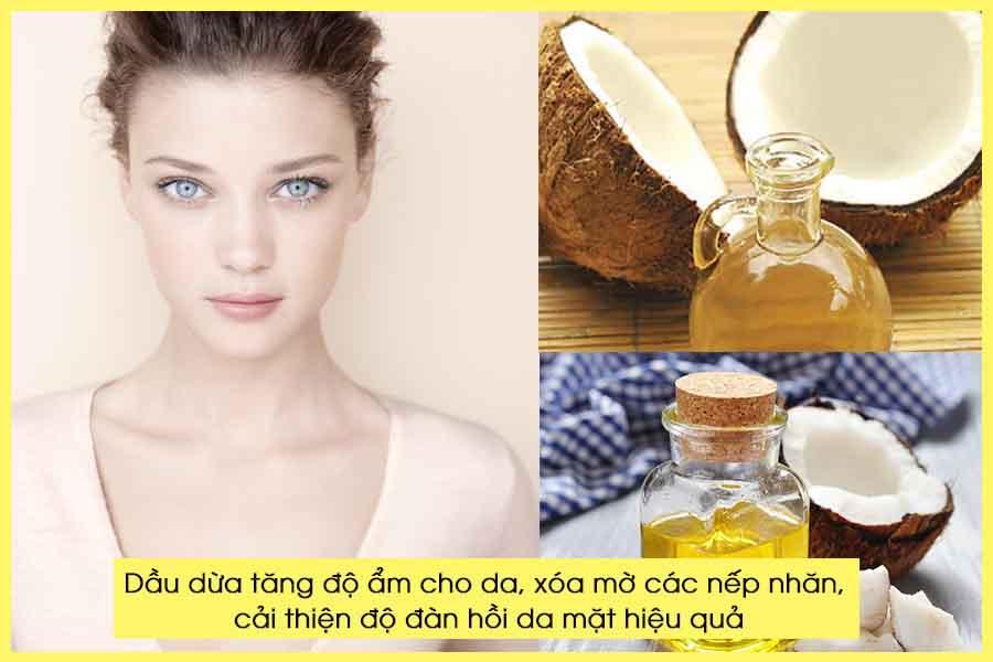 Dưỡng ẩm da mặt với dầu dừa