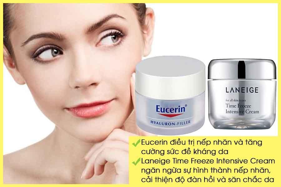Kem dưỡng da chống lão hóa Eucerin và Laneige Time Freeze Intensive Cream
