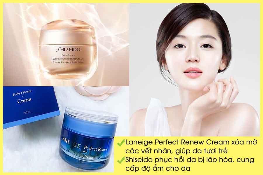 Kem dưỡng da chống lão hóa Laneige Perfect Renew Cream và Shiseido