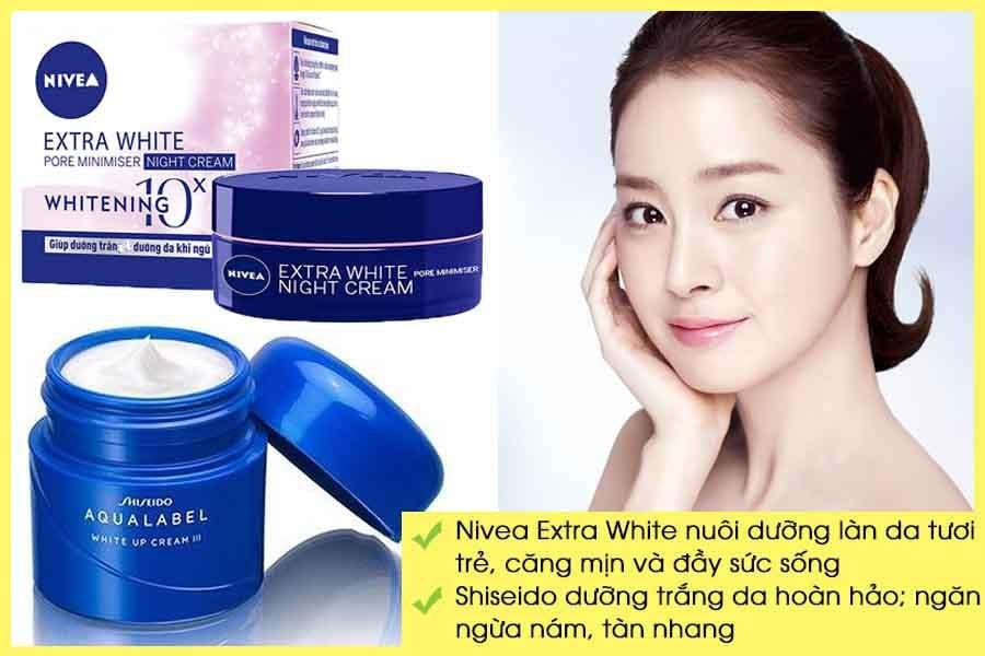 Kem dưỡng trắng da ban đêm Nivea Extra White và Shiseido