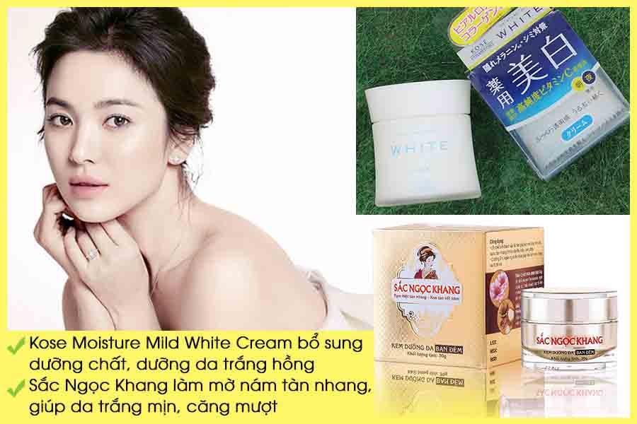 Kem dưỡng trắng da ban đêm Sắc Ngọc Khang và Kose Moisture Mild White Cream