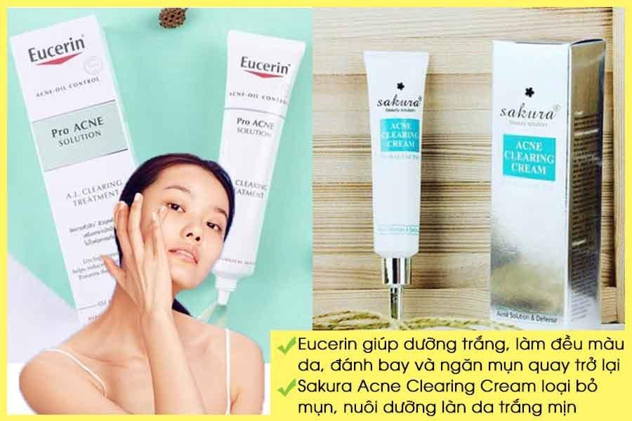 Kem trị mụn trắng da Eucerin và Sakura Acne Clearing Cream