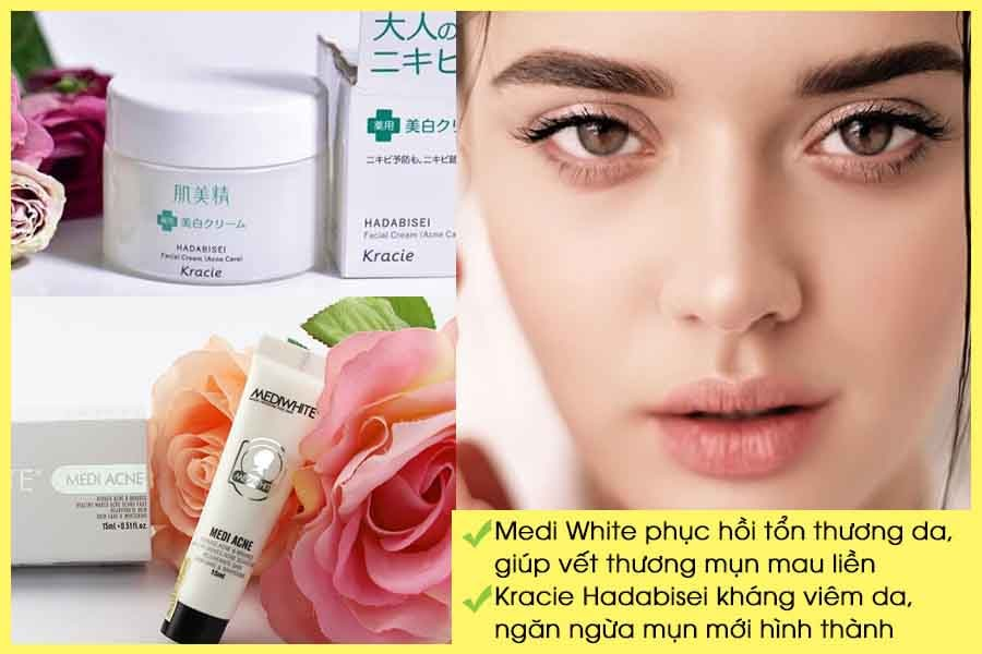 Kem trị mụn trắng da Medi White và Kracie Hadabisei