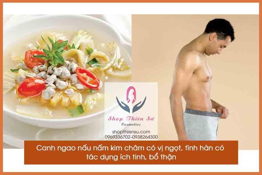 Món ăn bổ dương canh ngao nấu nấm kim châm