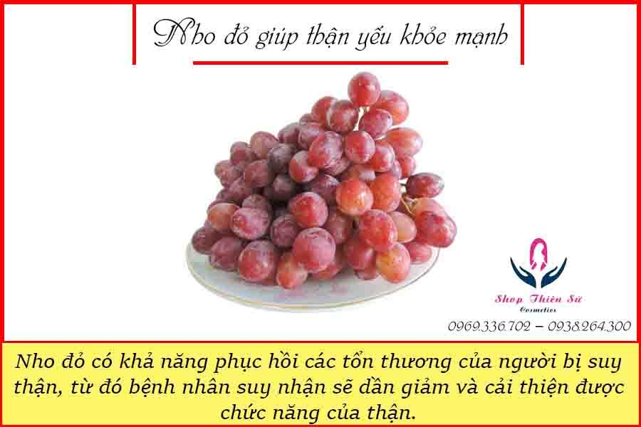 Nho đỏ giúp thận yếu khỏe mạnh