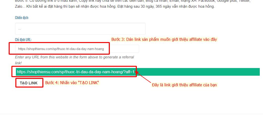 Cách tạo link giới thiệu affiliate
