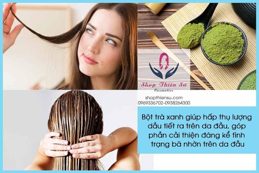 Cải thiện tóc nhờn và rụng nhiều với bột trà xanh