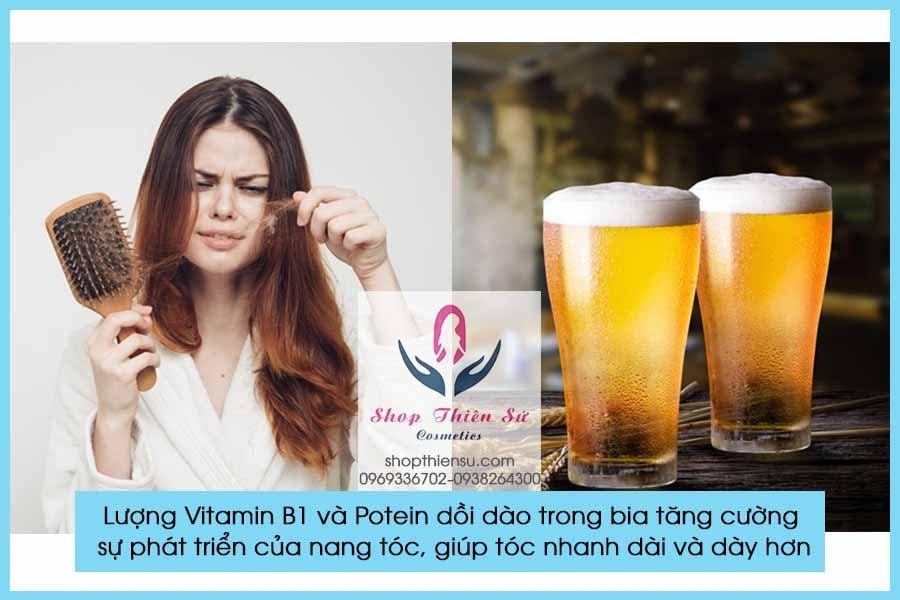 Cải thiện tóc xơ rối rụng nhiều với bia