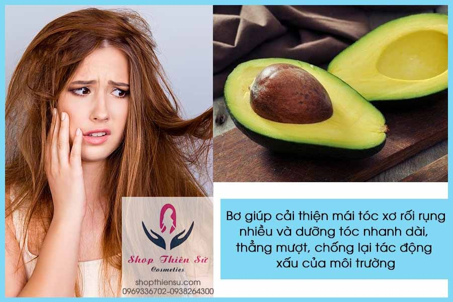Cải thiện tóc xơ rối rụng nhiều với bơ
