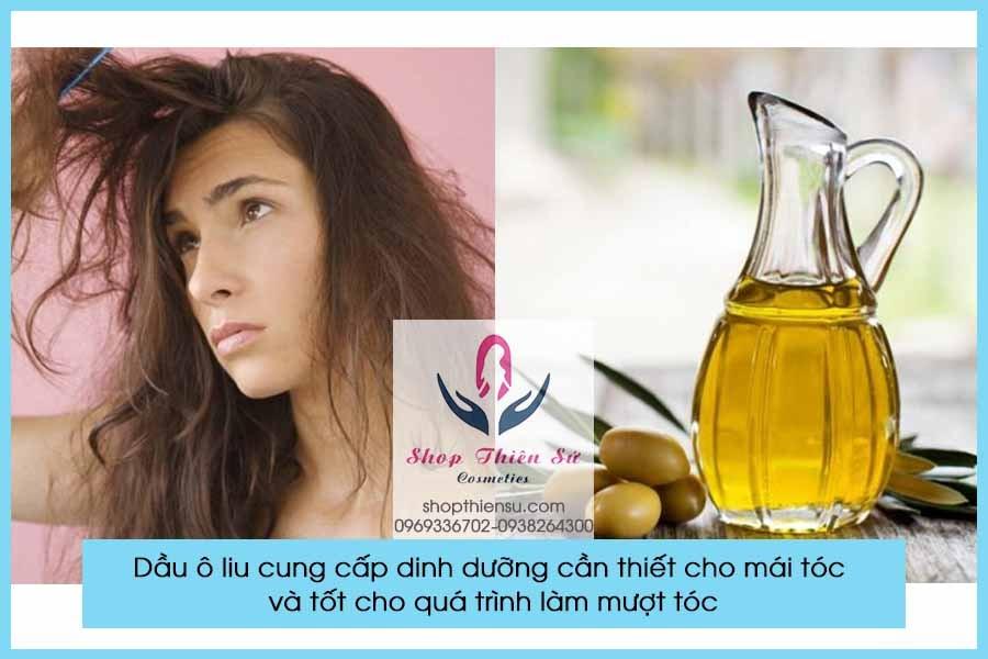 Cải thiện tóc xơ rối rụng nhiều với dầu ô liu