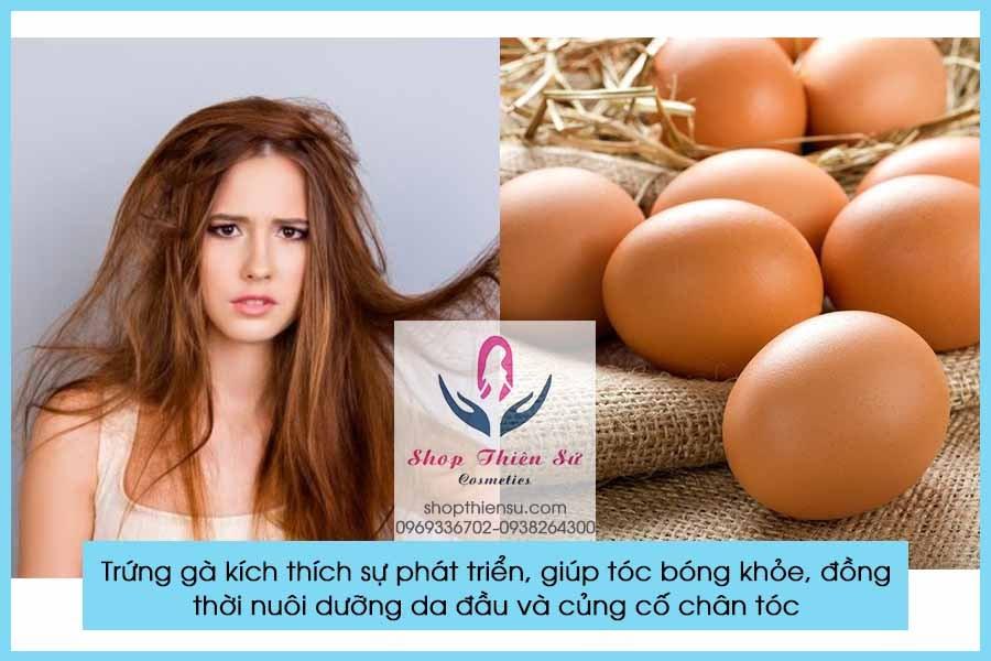 Cải thiện tóc xơ rối rụng nhiều với trứng gà