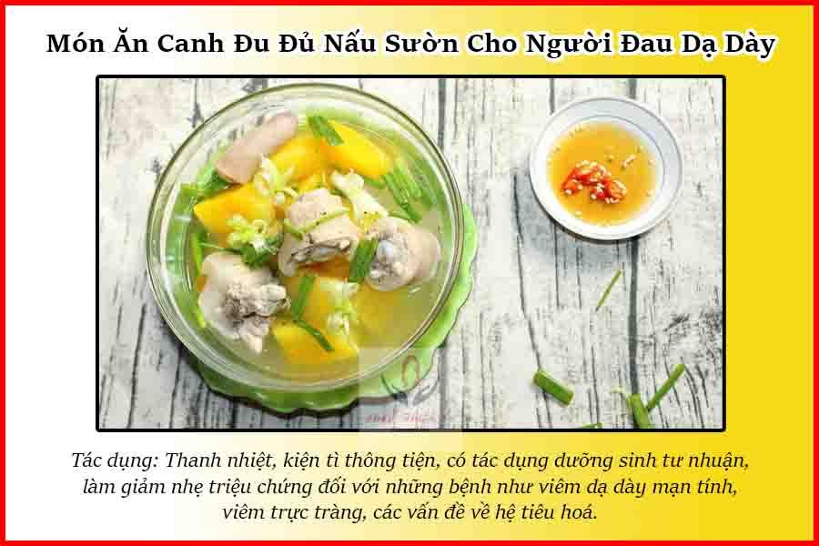 Món ăn canh đu đủ nấu sườn cho người đau dạ dày