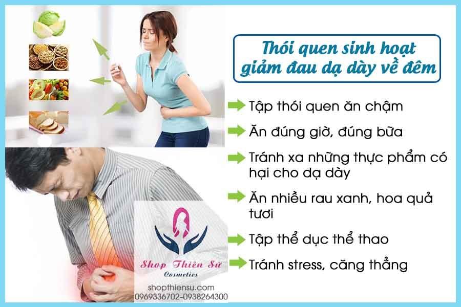 Thói quen sinh hoạt giảm đau dạ dày về đêm