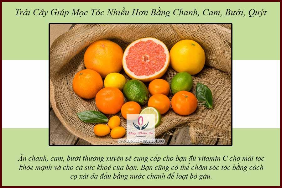 Trái cây giúp mọc tóc bằng quả cam quýt chanh bưởi