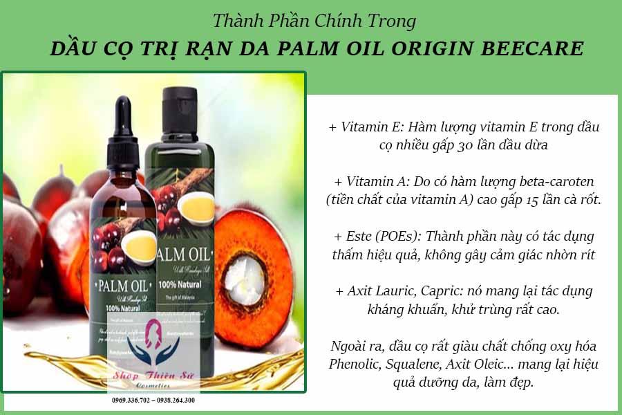 Thành phần trong dầu cọ trị rạn da Beecare