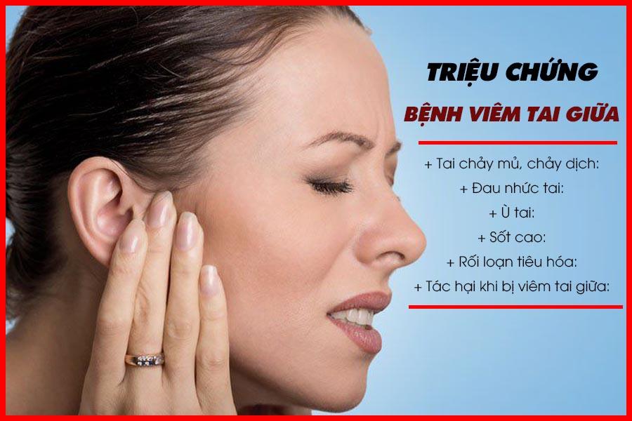 Triệu chứng của bệnh viêm tai giữa